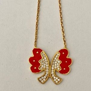 Jewelry - 💝 Silver small bow red enamel cz necklace gold